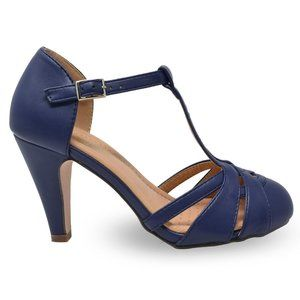 Women's Vintage Pump Shoes with T-Strap Ankle